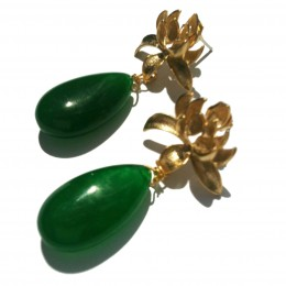Gold Green Lotus Earrings cropped