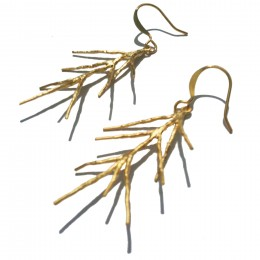 Gold Pine Leaf Earrings 2
